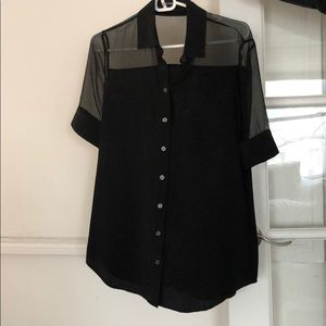 Sheer Shoulder Black Alexander Wang Top